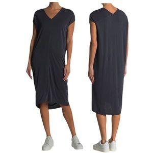 V-Neck Dolman Sleeve Black Midi Dress